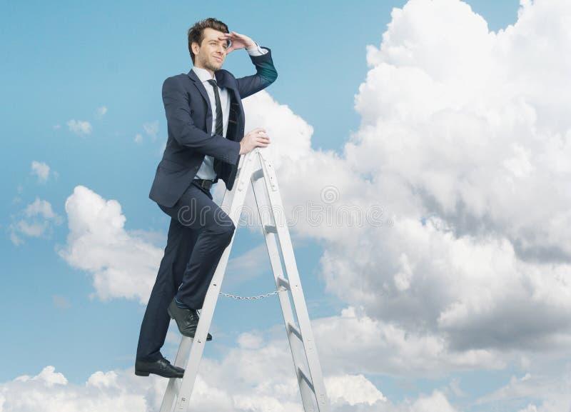 Succesvolle zakenman op de bovenkant van de zaken royalty-vrije stock afbeelding