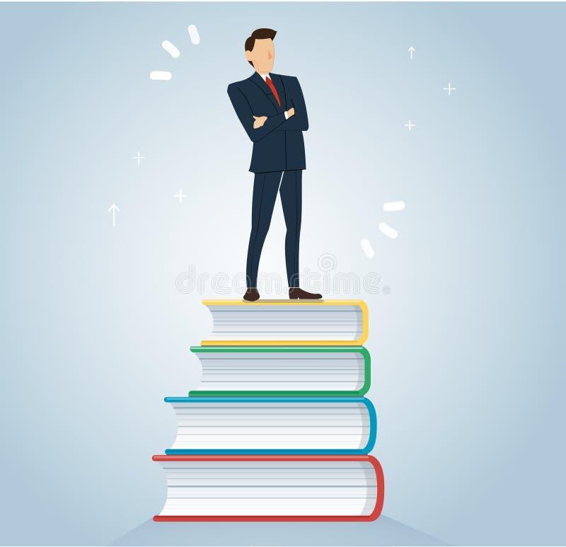 Succesvolle zakenman op het ontwerp vectorillustratie van het boekenpictogram, onderwijsconcepten royalty-vrije illustratie