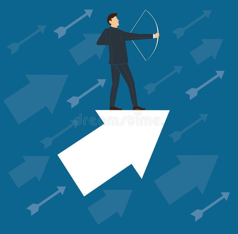 Succesvolle zakenman op pijl met van het bedrijfs boogconcept vectorillustratie royalty-vrije illustratie