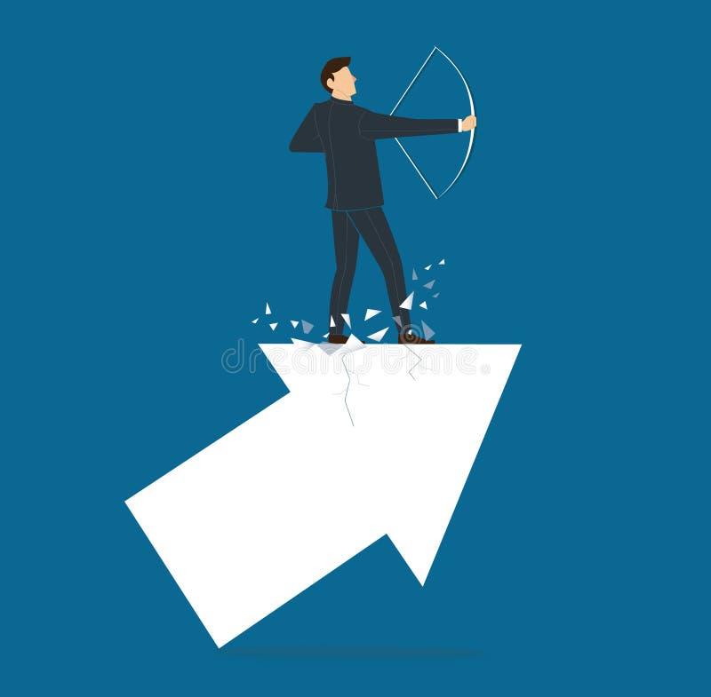 Succesvolle zakenman op pijl met van het bedrijfs boogconcept vectorillustratie stock illustratie