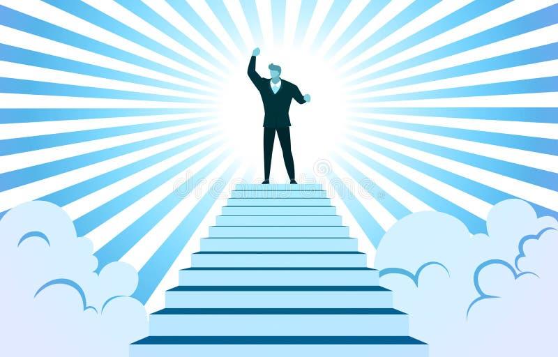 Succesvolle zakenman zet hand op top-Stairs Cloud Sunbeam Vector Illustratie stock illustratie