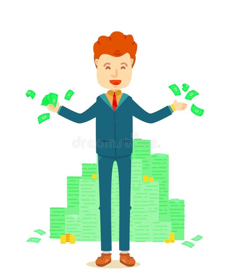Succeszakenman die zich voor van geldstapel bevinden royalty-vrije illustratie