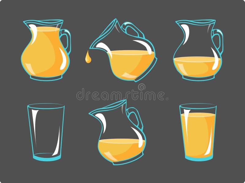 Succo d'arancia di vettore in vetri ed in intaccatura - strutture di animazione di illustrazione di stock