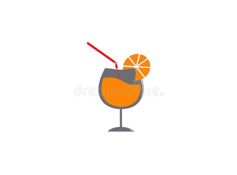Succo del cocktail e una fetta arancio per l'illustrazione di progettazione di logo su un fondo bianco illustrazione vettoriale
