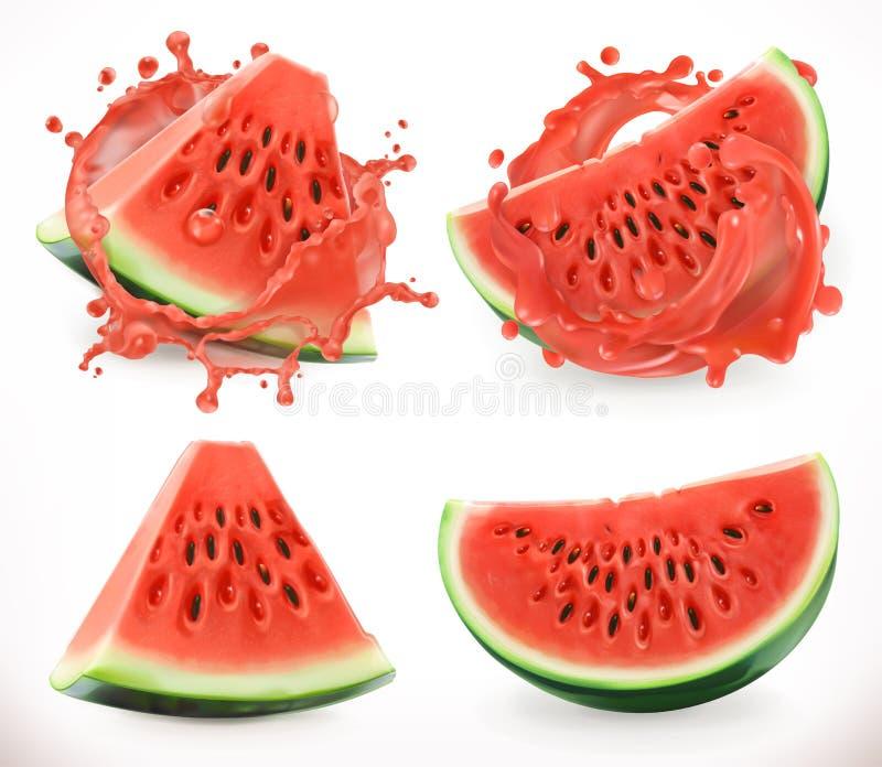 Succo dell'anguria Frutta fresca, icona di vettore illustrazione vettoriale