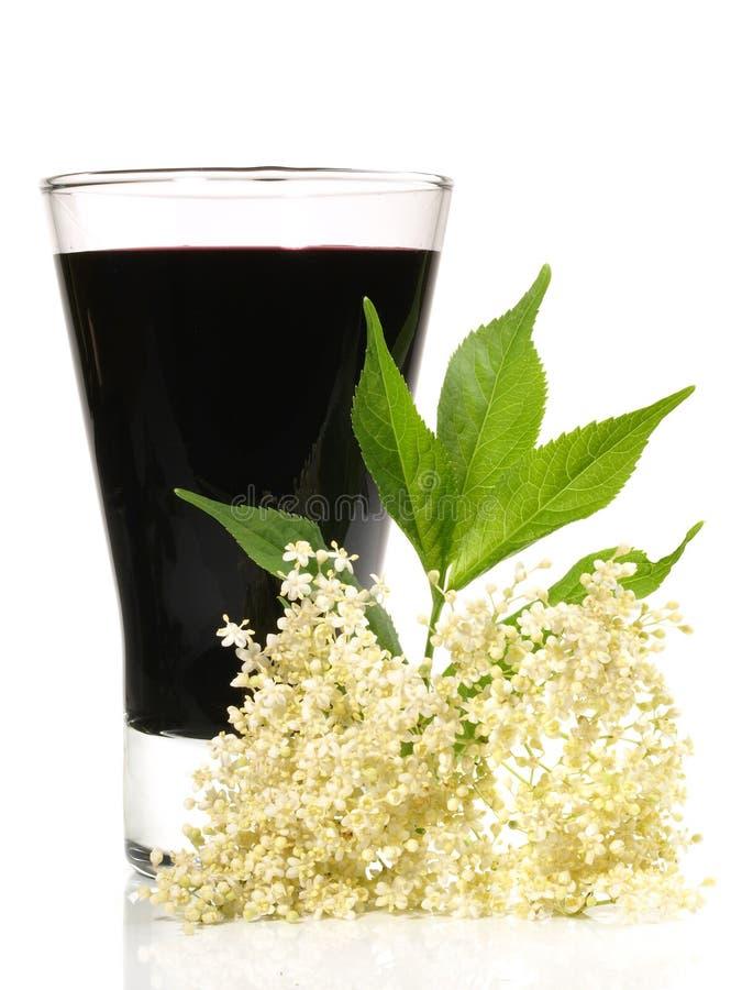 Succo della bacca di sambuco con il fiore della bacca di sambuco su fondo bianco immagini stock
