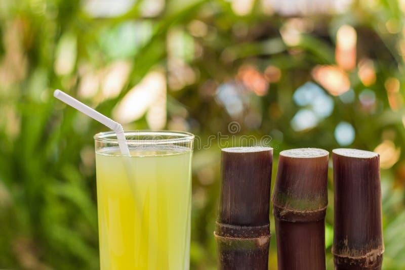 Succo della canna da zucchero con il pezzo di canna da zucchero su fondo di legno immagini stock libere da diritti