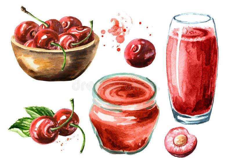Succo della ciliegia, inceppamento, marmellata d'arance e bacche mature fresche con le foglie Illustrazione disegnata a mano dell royalty illustrazione gratis
