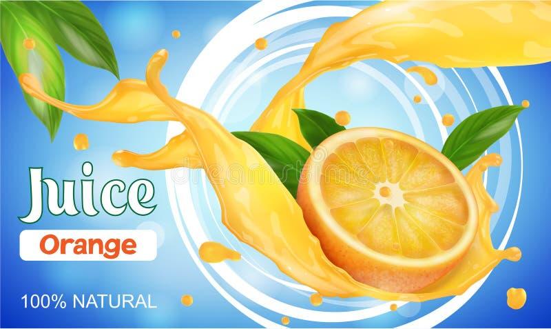 Succo di agrumi L'arancia ha tagliato a metà con spruzza e spruzzata Juice Packaging Design fotografia stock