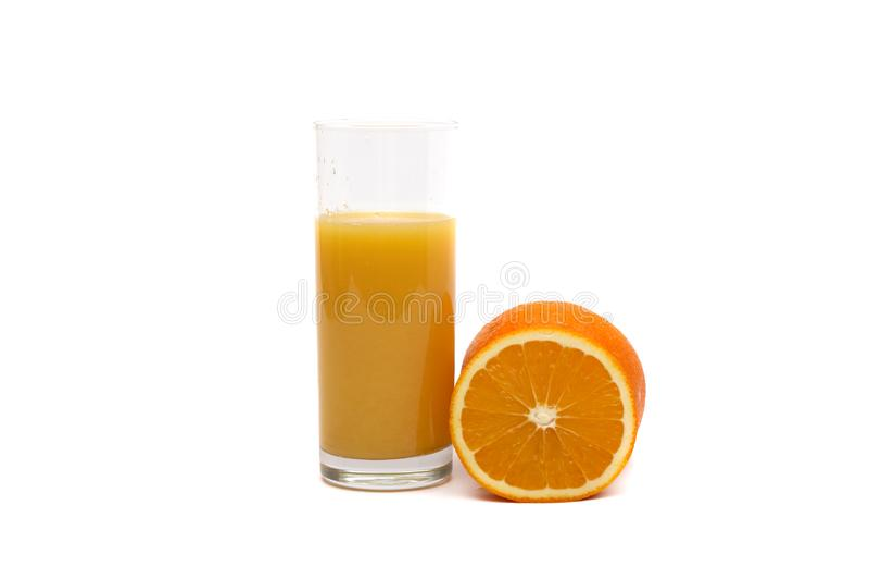 Arancia e succo d'arancia fotografia stock