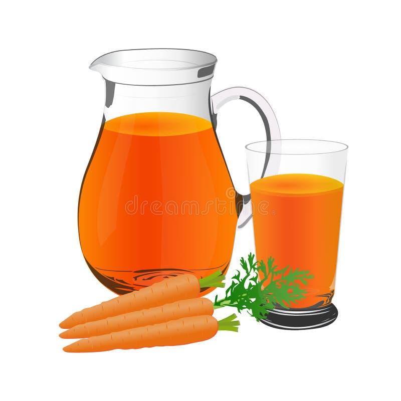Succo di carota e tazza delle carote, della brocca e di vetro, vettore, illustrazione illustrazione vettoriale
