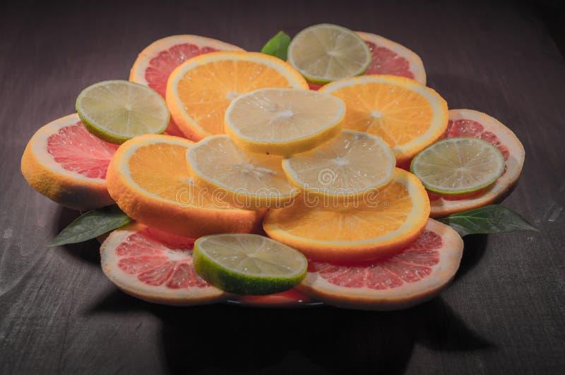 Succo di limone arancio della calce del pompelmo fotografia stock libera da diritti