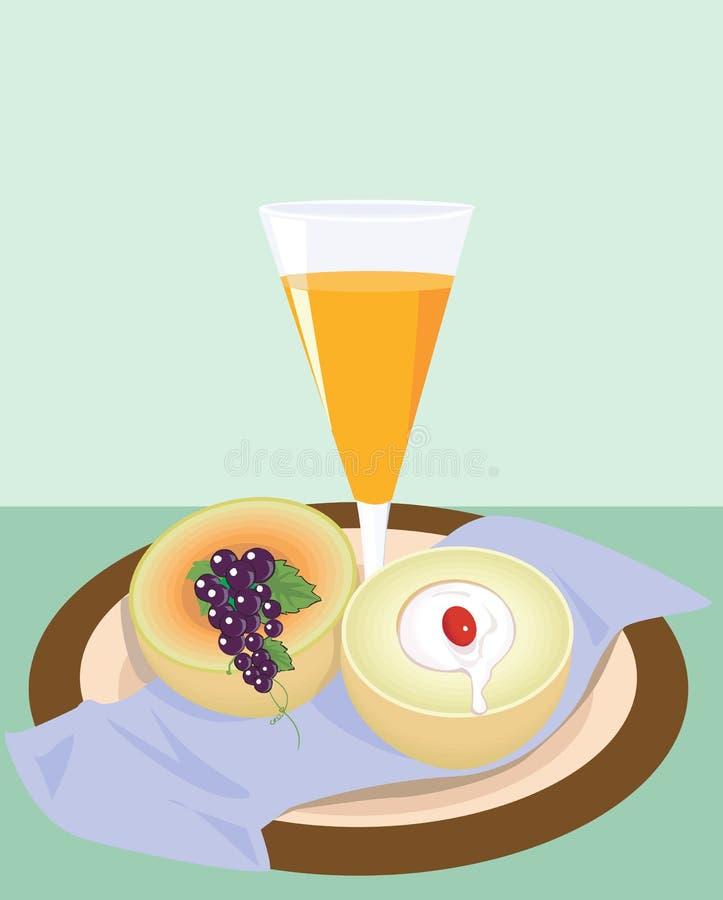 Succo e frutta di arancia illustrazione vettoriale