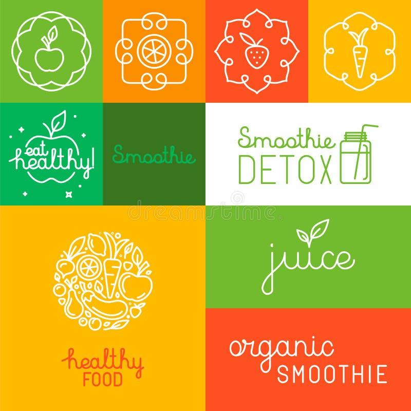 Succo organico - elementi di progettazione di imballaggio illustrazione di stock