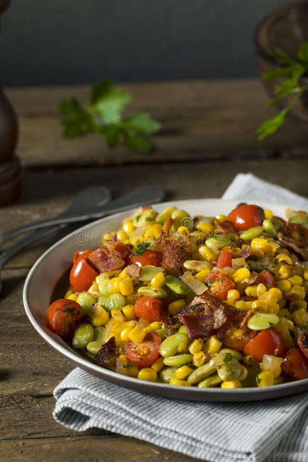 Succotash caseiro com Lima Beans fotos de stock
