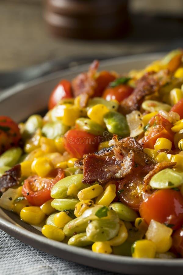 Succotash caseiro com Lima Beans fotografia de stock