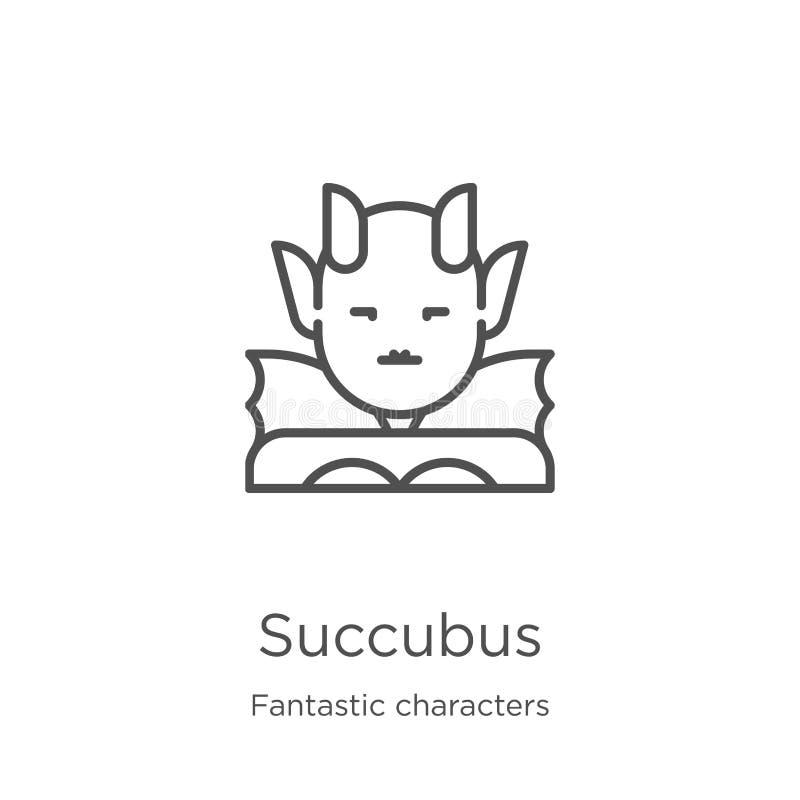 succubus pictogramvector van fantastische karaktersinzameling De dunne lijnsuccubus vectorillustratie van het overzichtspictogram stock illustratie