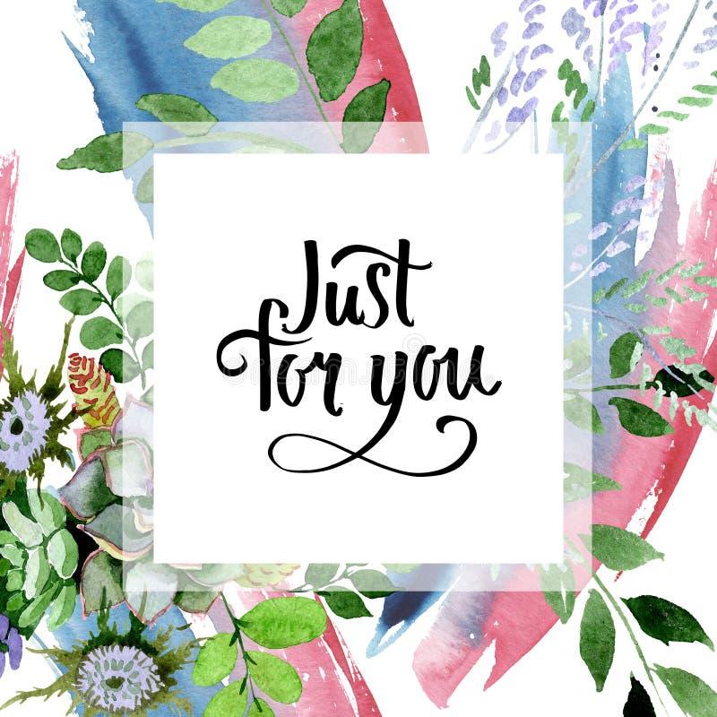 Succulent bouquet floral botanical flowers. Watercolor background illustration set. Frame border ornament square. Succulent bouquet floral botanical flowers royalty free illustration