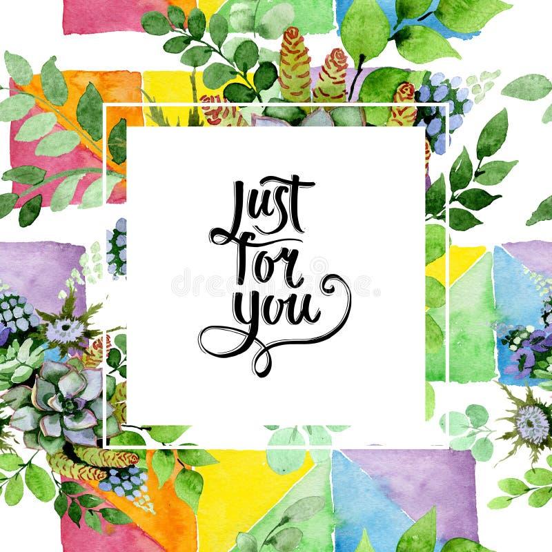 Succulent bouquet floral botanical flowers. Watercolor background illustration set. Frame border ornament square. Succulent bouquet floral botanical flowers vector illustration