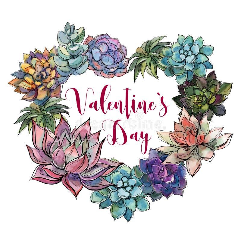 Succulent hart valentine De gelukkige Dag van de Valentijnskaart `s prentbriefkaar vector illustratie