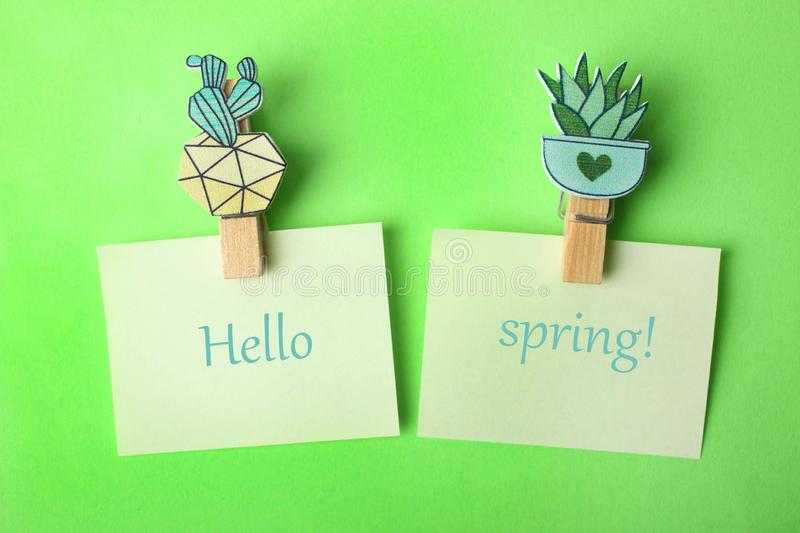 Succulent plants and stickers for notes stock images