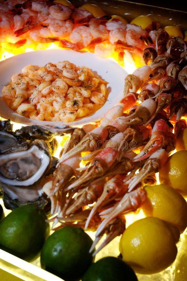 Succulent seafood buffet. An image of a succulent seafood buffet royalty free stock photo