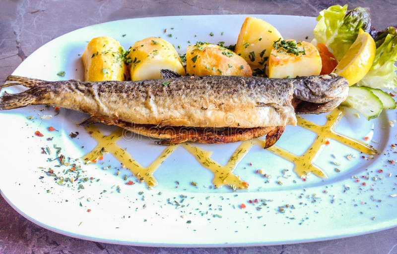 Succulent signature natural fresh grilled Trout with potato baked on white plate with marble table background, Hallstatt, Austria royalty free stock image