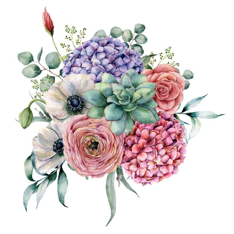 Succulente waterverf en hydrangea hortensiaboeket De hand schilderde roze en violette bloemen, cactussen, anemoon en ranunculus m stock illustratie