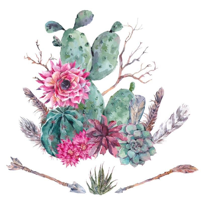 Succulente waterverfcactus, bloemen stock illustratie