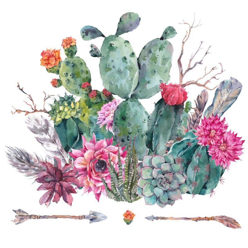 Succulente waterverfcactus, bloemen royalty-vrije illustratie