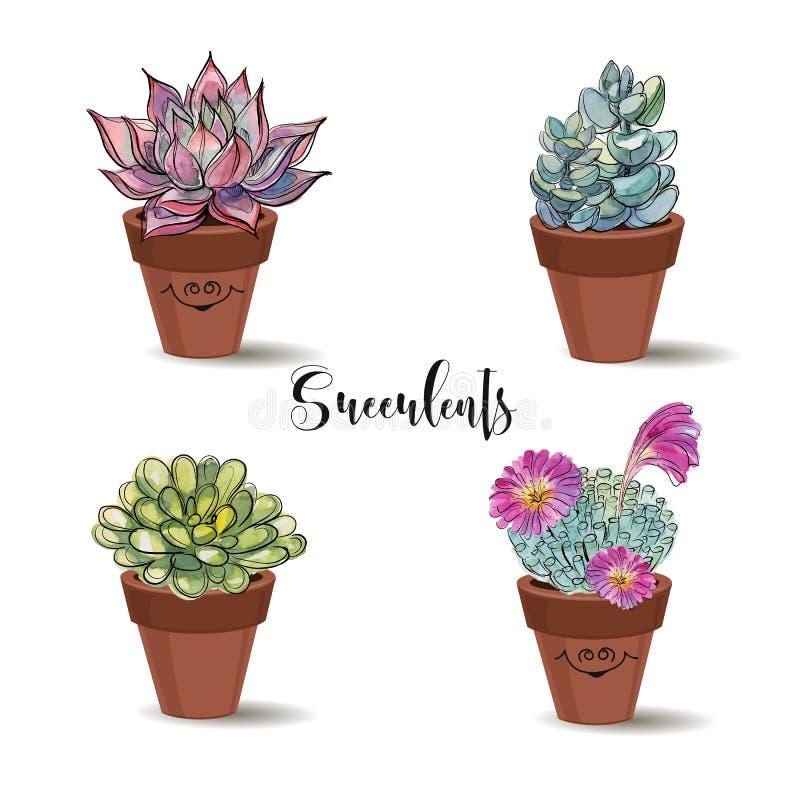 Succulenti in vasi di argilla insieme Grafici con l'acquerello Vettore fotografia stock