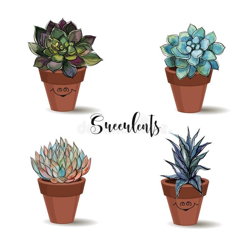 Succulenti in vasi di argilla insieme Grafici con l'acquerello Vettore royalty illustrazione gratis