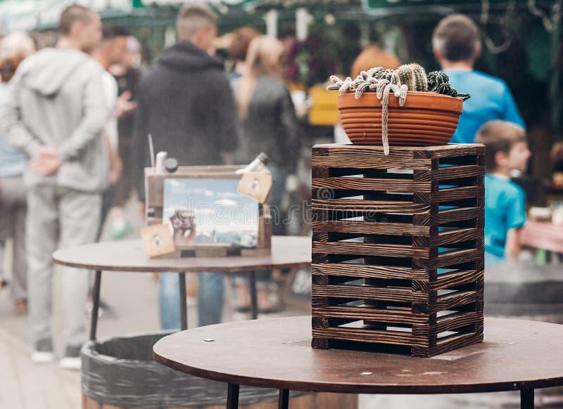 succulents и кактус в баке на деревянной коробке на festiv еды улицы стоковая фотография rf