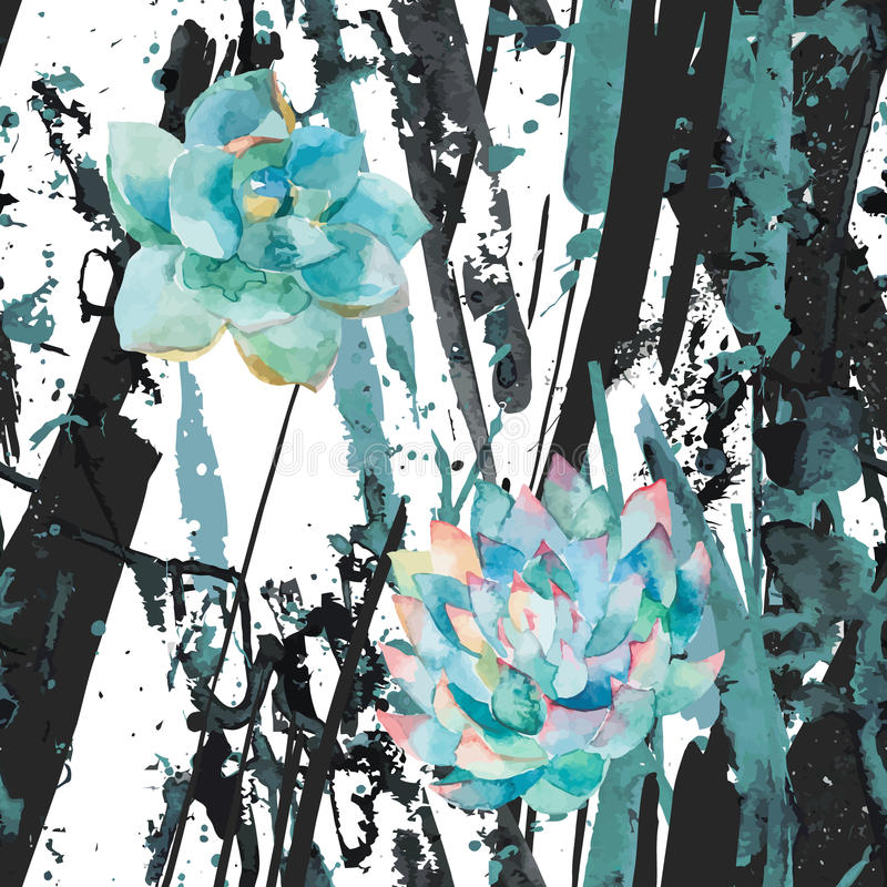Succulents и нашивки акварели Абстрактные пятна splatter синих чернил, линии Справочная информация Ультрамодная modernistic карти иллюстрация вектора