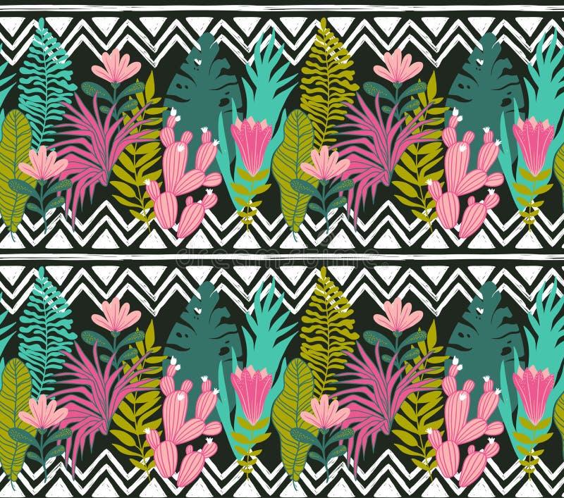 Succulents cacti plant vector seamless pattern. Botanical green desert flora fabric print. stock illustration