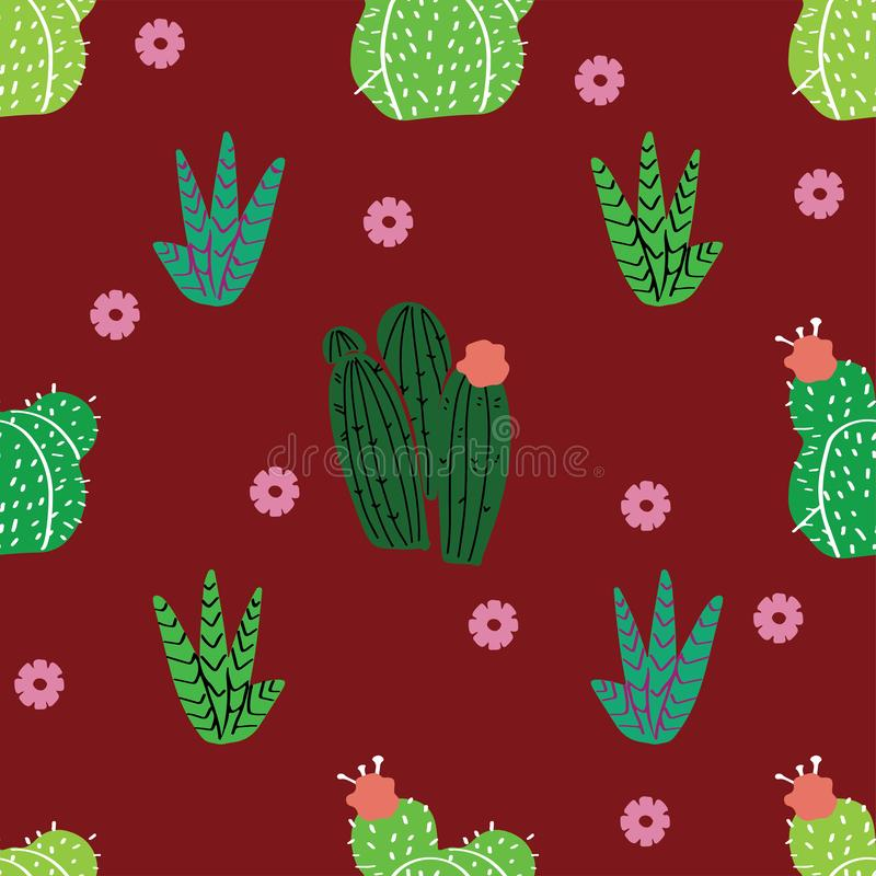 Succulents, cactus y otras plantas creciendo en florariums stock de ilustración