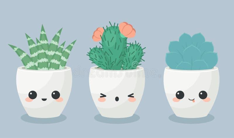 Succulents in de bloempotten van kawaiigezichten royalty-vrije illustratie