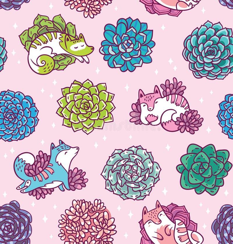 Succulents en leuk katten naadloos patroon Mooie bloemen vectorachtergrond In tropisch oppervlakteontwerp vector illustratie