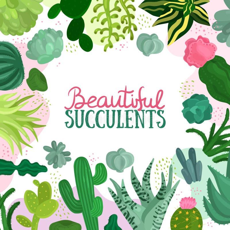 Succulents-Rahmen-Illustration stock abbildung