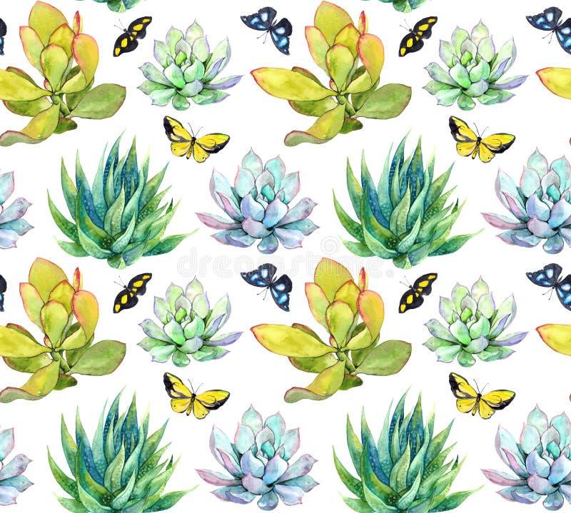 Succulents y mariposas Fondo embaldosado watercolor ilustración del vector