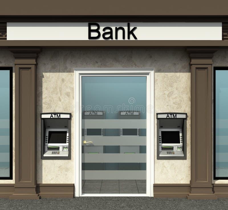 Succursale bancaire avec le distributeur automatique image stock