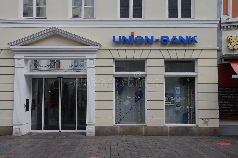 Succursale bancaria del sindacato in Flensburg Germania immagini stock libere da diritti