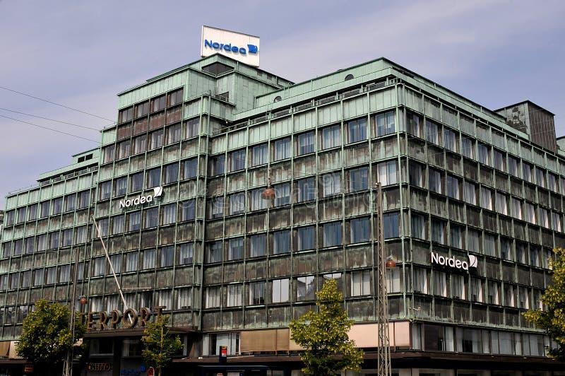 Succursale bancaria di Nordea su Vesterbrogade a Copenhaghen Danimarca fotografie stock libere da diritti