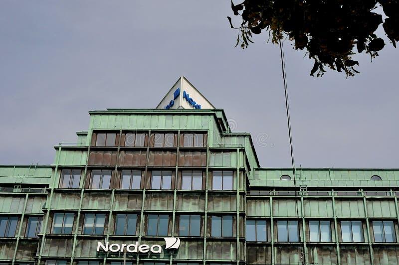Succursale bancaria di Nordea su Vesterbrogade a Copenhaghen Danimarca fotografia stock libera da diritti