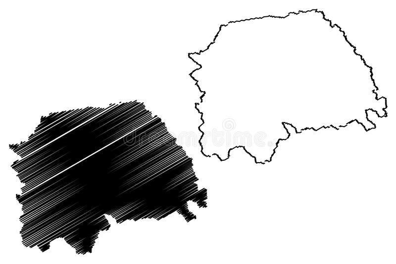 Suceava County klottrar administrativa uppdelningar av Rum?nien, f?r region?versikt f?r utveckling Nord-Est illustration f?r vekt stock illustrationer