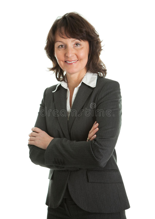sucessful affärskvinnaståendepensionär fotografering för bildbyråer