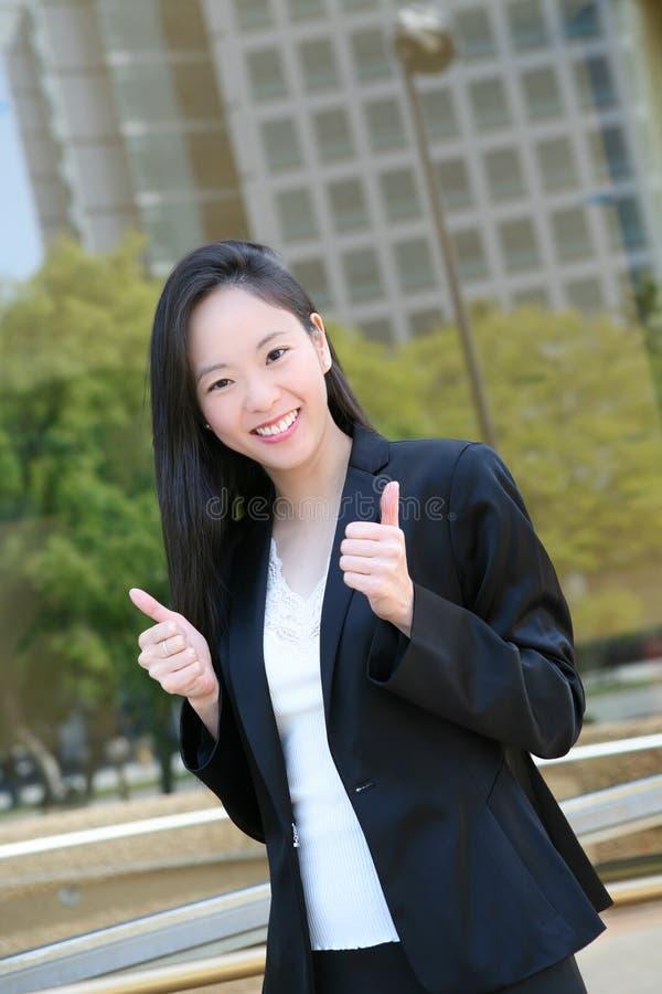 Sucesso asiático da mulher de negócio foto de stock