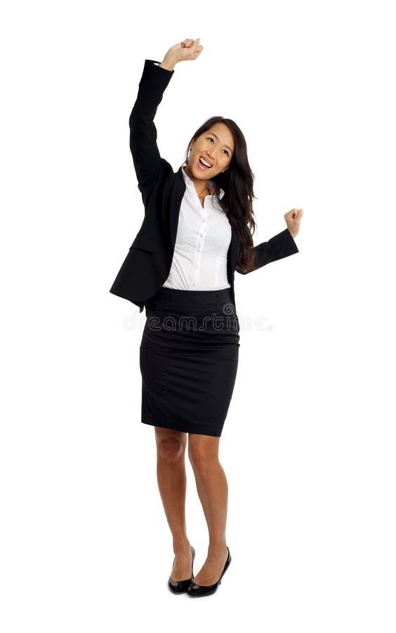 Sucesso cheering asiático da mulher de negócio fotografia de stock royalty free