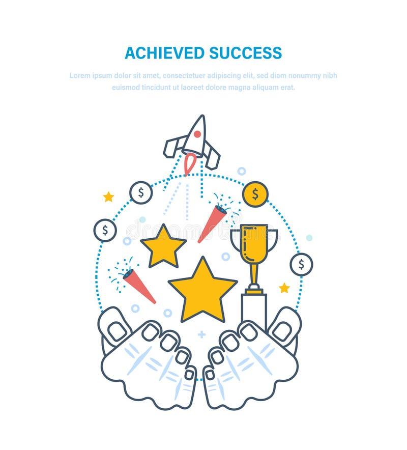 Sucesso conseguido Ostentar realizações, negócio startup bem sucedido projeta-se, crescimento da carreira ilustração royalty free