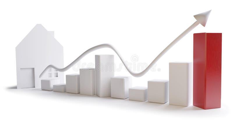 Sucesso da casa de carta do negócio no fundo branco 3d-illustration ilustração royalty free